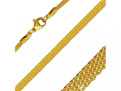 Stainless Steel Gold Flat Mesh Link Chain For Pendant CH-072B
