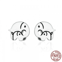Design New 925 Sterling Silver Elephant Mother Family Love Stud Earrings for Women Sterling Silver Jewelry Gift SCE182 EARR-0198