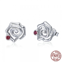 Genuine 925 Sterling Silver Romantic Rose Flower Stud Earrings for Women Pink CZ Fine Sterling Silver Jewelry 2018 BSE006 EARR-0438