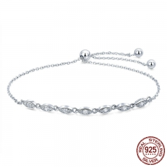 Trendy 925 Sterling Silver Droplet Chain Link Bracelets for Women Luminous CZ Fashion Bracelet Jewelry Making Gift SCB086 BRACE-0115