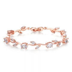 Rose Gold Color Leaf Chain & Link Bracelet with Clear AAA Zircon for Mother Gifts Jewelry JIB073 FASH-0100