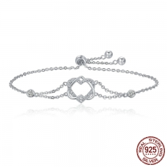 Genuine 925 Sterling Silver Twisted Double Heart in Heart Chain Bracelets For Women Authentic Silver Jewelry Gift SCB022 BRACE-0042
