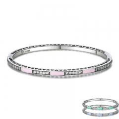 Genuine 925 Sterling Silver 3 Color Radiant Hearts, Light Pink Enamel & Clear CZ Bangle & Bracelet Luxury Jewelry SCB017 BRACE-0039