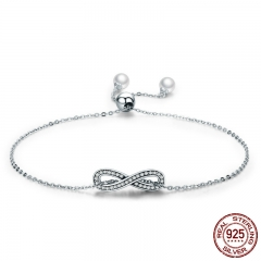 Real 100% 925 Sterling Silver Infinity Love Chain Link Women Bracelet Sterling Silver Jewelry Valentine Day Gift SCB056 BRACE-0074