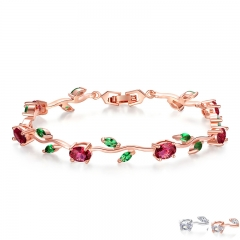 Rose Gold Color Leaf Chain & Link Bracelet with Red + Green AAA Zircon for Mother Gifts Jewelry JIB072 FASH-0096