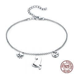 Hot Sale 100% 925 Sterling Silver Naughty Cat Pet Footprints Chain Women Bracelet Sterling Silver Jewelry Gift SCB070 BRACE-0091