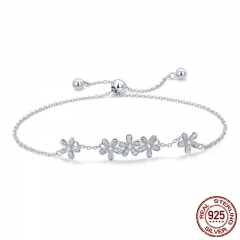 Genuine 925 Sterling Silver Luminous Daisy Flower Women Bracelets Clear CZ Fashion Bracelet Jewelry Making Gift SCB084 BRACE-0114