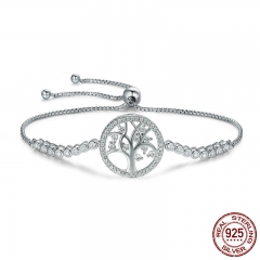 Hot Sale 100% 925 Sterling Silver Tree of Life Tennis Bracelet Women Adjustable Link Chain Bracelet Silver Jewelry SCB035 BRACE-0062