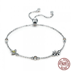 Spring Collection 100% 925 Sterling Silver Dancing Bee In Daisy Garden Women Chain Bracelet Fashion Jewelry Gift SCB061 BRACE-0082