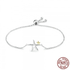 Romantic Genuine 925 Sterling Silver Starfish Fairy Tale Women Chain Link Bracelet Luxury Sterling Silver Jewelry SCB025 BRACE-0046
