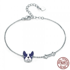 Hot Sale 100% 925 Sterling Silver French Bulldog & Dog Bone Lobster Chain Link Women Bracelet Silver Jewelry SCB064 BRACE-0084