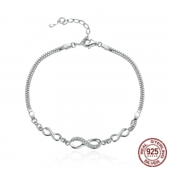 Authentic 925 Sterling Silver Endless Love Infinity Chain Link Adjustable Women Bracelet Luxury Silver Jewelry SCB037 BRACE-0063