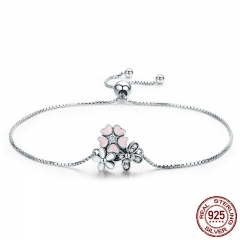 Fashion New 100% 925 Sterling Silver Cherry Daisy Flower Chain Link Women Bracelet Sterling Silver Jewelry Gift SCB055 BRACE-0070