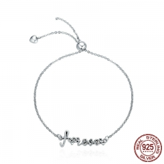 100% 925 Sterling Silver Love Forever Letter Alphabet Women Chain Link Bracelet Adjustable Sterling Silver Jewelry SCB042 BRACE-0066