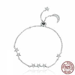New Arrival Genuine 925 Sterling Silver Sweet Whisper of Moon & Star Clear CZ Link Bracelet Luxury Silver Jewelry SCB007 BRACE-0045