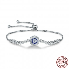 Authentic 925 Sterling Silver Blue Eye Tennis Bracelet for Women Adjustable Chain Bracelet Sterling Silver Jewelry SCB033 BRACE-0061