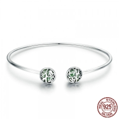 Genuine 925 Sterling Silver Tree of Life Green Crystal CZ Women Open Cuff Bangle & Bracelet Luxury Silver Jewelry SCB057 BRACE-0077