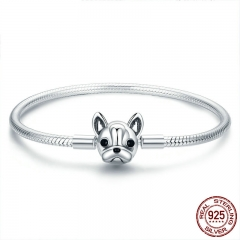 100% Genuine 925 Sterling Silver French Bulldog Doggy Snake Chain Women Bracelet & Bangles Silver Jewelry 17-19CM SCB075 BRACE-0104