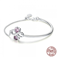 925 Sterling Silver Elegant Clover Love Pink CZ Bracelets & Bangles for Women Original Sterling Silver Jewelry SCB092 BRACE-0118