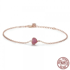 925 Sterling Silver Rose Gold Romantic Heart Chain Link Bracelet Women Adjustable Lobster Clasp Bracelet Jewelry SCB050 BRACE-0072