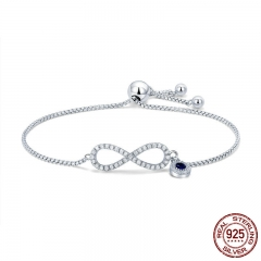Trendy 925 Sterling Silver Luminous CZ Infinity Love Bracelets for Women Fashion Bracelet Jewelry Making Gift SCB087 BRACE-0113