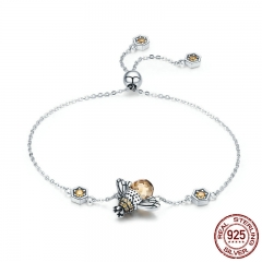 Genuine 100% 925 Sterling Silver Dancing Honey Bee Chain Link Women Bracelet Crystal Big Stone Bracelet Jewelry SCB043 BRACE-0078