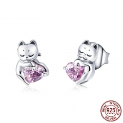New Arrival 925 Sterling Silver Cat Pussy Pink Cubic Zircon Small Stud Earrings for Women Fashion Silver Jewelry SCE453 EARR-0513