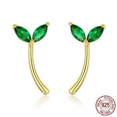 Genuine 925 Sterling Silver Green Hope Tree Bud Cubic Zircon Stud Earrings for Women Fashion Earrings Jewelry BSE019 EARR-0554