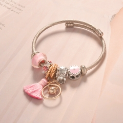 Stainless Steel Bracelet With Alloy Charms BS-1667