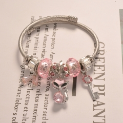 Stainless Steel Bracelet With Alloy Charms BS-1671