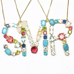 Big Fashion colorful cz stone gold plated rainbow initial capital letter necklace letter necklace