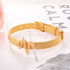 Stainless Steel Bracelet with Copper Charms BS-2030