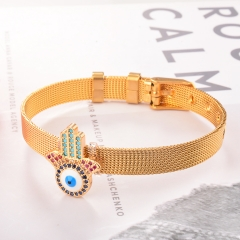 Stainless Steel Bracelet with Copper Charms BS-2031