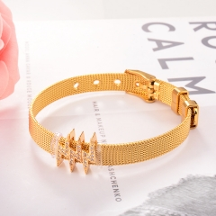 Stainless Steel Bracelet with Copper Charms BS-2029