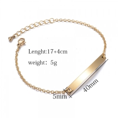 Personalised Shiny Vertical Bar Necklace Custom Message Bar Pendant Stainless Steel Simple Necklace custom001