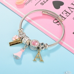 Stainless Steel Bracelet With Alloy Charms BS-1802