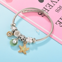 Stainless Steel Bracelet With Alloy Charms BS-1804