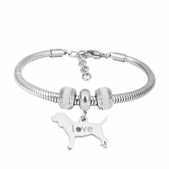 Stainless Steel Fashion Snake Chain Charm Bead Bracelet Women L085622