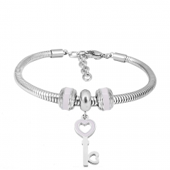 Stainless Steel Fashion Snake Chain Charm Bead Bracelet Women L085578