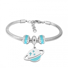 Stainless Steel Fashion Snake Chain Charm Bead Bracelet Women L085588