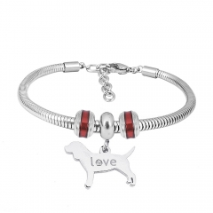 Stainless Steel Fashion Snake Chain Charm Bead Bracelet Women L085623