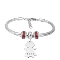 Stainless Steel Fashion Snake Chain Charm Bead Bracelet Women L085641