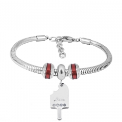 Stainless Steel Fashion Snake Chain Charm Bead Bracelet Women L085642