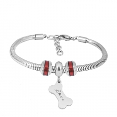 Stainless Steel Fashion Snake Chain Charm Bead Bracelet Women L085625