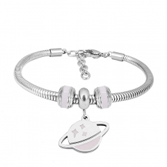Stainless Steel Fashion Snake Chain Charm Bead Bracelet Women L085587