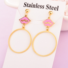stainless steel women enamel Lips earring ES-1918A