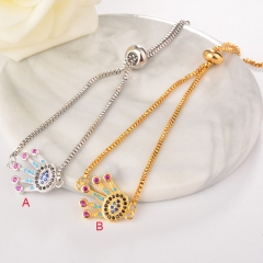 stainless steel adjustable chain copper zircon charms bracelet TTTB-0024