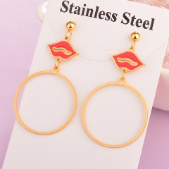 stainless steel women enamel Lips earring ES-1918B