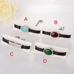 stainless steel adjustable leather jewelry copper zircon charms bracelet TTTB-0105