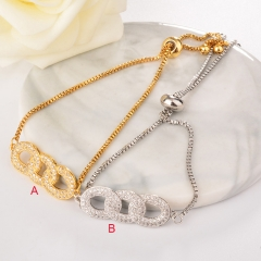 stainless steel adjustable chain copper zircon charms bracelet TTTB-0023